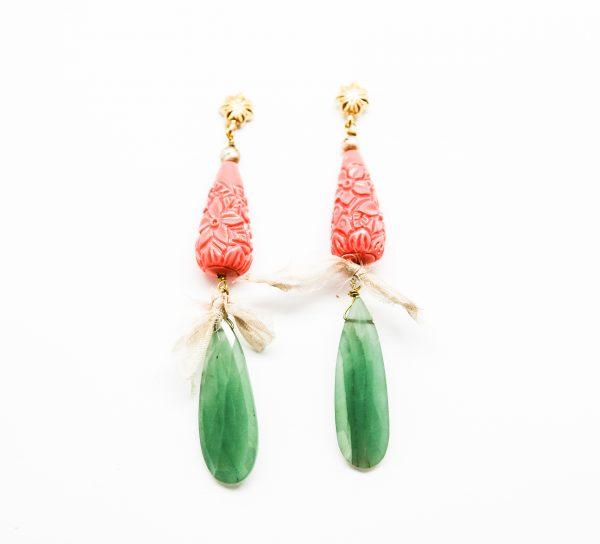pendientes jade coral sostenibles
